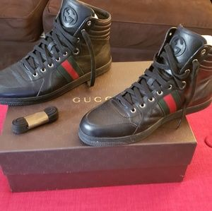 High-top black Gucci men's sneakers, size 10 1/2